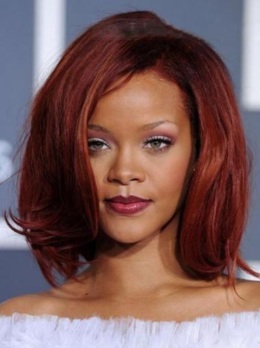 """Rød Halv Lengde Rett Maskinknyttet Fleksibilitet 12"""" Rihanna Parykk"""