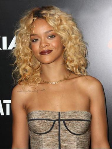 """Lace Front Krøllete 14"""" Moderne Indisk Remy Hår Rihanna Parykk"""