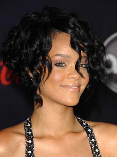 """Maskinknyttet Rett 12"""" På Nett Indisk Remy Hår Rihanna Parykk"""