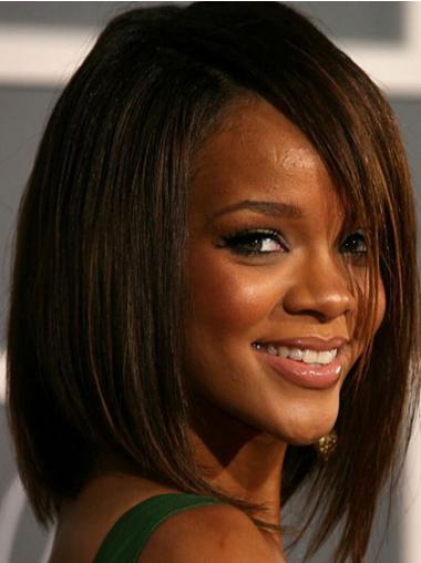 """Brun Halv Lengde Rett Maskinknyttet Topp 12"""" Rihanna Parykk"""