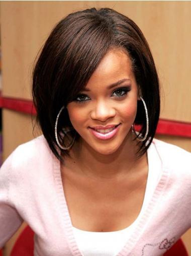 "Brun Halv Lengde Rett Lace Front Trendy 12"" Rihanna Parykk"