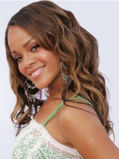 """Lace Front Bølgete 18"""" Myk Brasiliansk Remy Hår Rihanna Parykk"""