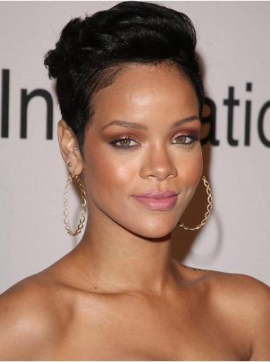 """Lace Front Rett 6"""" Varig Indisk Remy Hår Rihanna Parykk"""