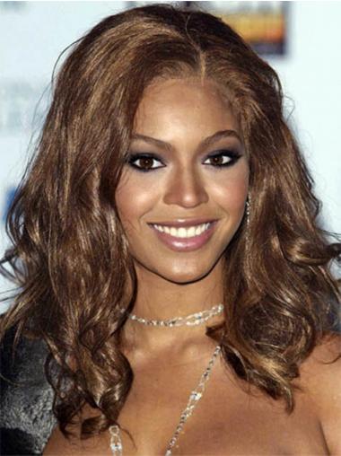 "Syntetisk Myk Brun 16"" Lang Lace Front Beyonce Parykk"