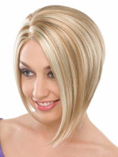 """Maskinknyttet Rett 8"""" Naturlig Halv Lengde Blond Bob Parykker"""