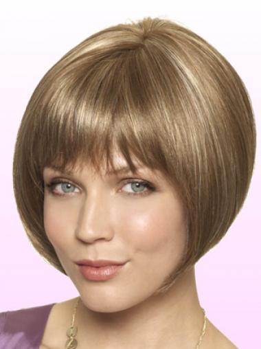 """Vakker Syntetisk Blond 9"""" Kort Rett Lace Parykk"""