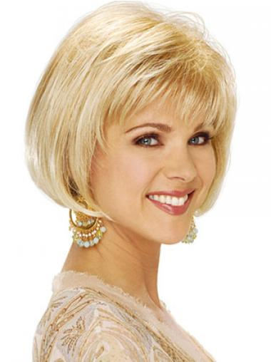 """Rett 8"""" Flott Blond Kort Maskinknyttet Klassiske Parykker"""