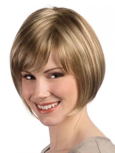 """Bob Rett 8"""" Myk Syntetisk Blond Lace Front Parykk"""