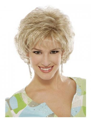 """Krøllete 6"""" Passende Blond Kort Maskinknyttet Klassiske Parykker"""