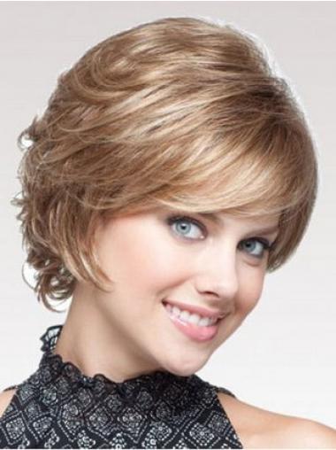 "Beste Blond 7"" Kort Maskinknyttet Bølgete Klassiske Parykker"