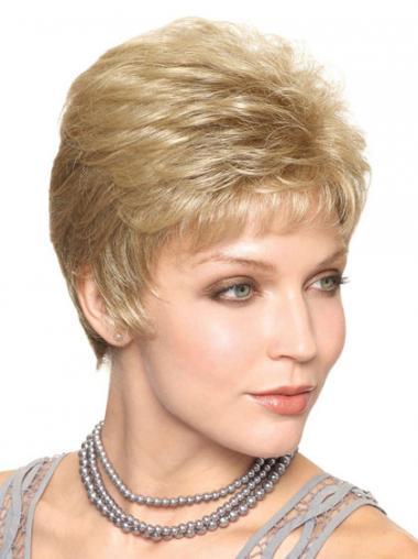 """Frekk Blond 6"""" Kort Maskinknyttet Rett Klassiske Parykker"""