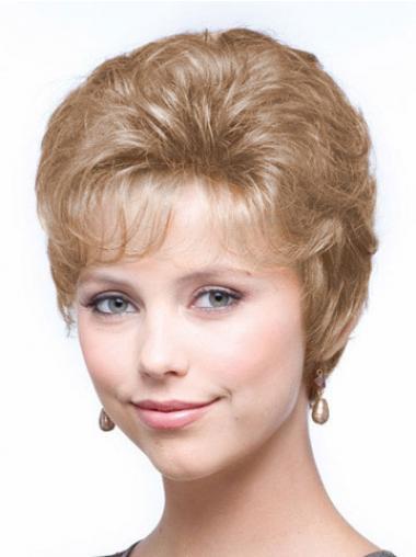 """Bølgete 6"""" Beleilig Blond Kort Maskinknyttet Klassiske Parykker"""