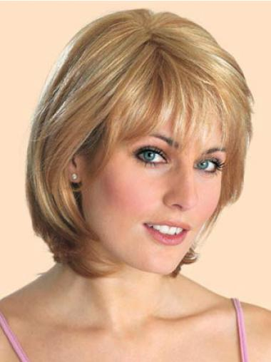 "Bob Rett 10"" Komfortabel Syntetisk Blond Lace Front Parykk"