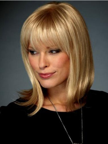 """Blond Syntetisk Halv Lengde Med Smell Ideell 14"""" Lace Front Parykk"""