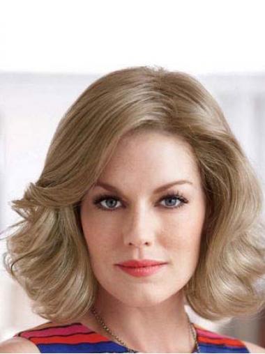 """Bølgete 10"""" Billigste Blond Halv Lengde Lace Front Klassiske Parykker"""