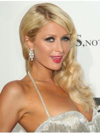 "Blond Lang Bølgete 100% Håndknyttet Uten Smell 20"" Billig Paris Hilton Parykk"