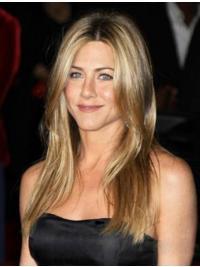 "Rett 18"" Blond Lang Monofilament Komfortabel Jennifer Aniston Parykk"