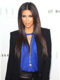 "Maskinknyttet Rett Brun Topp 25"" Kim Kardashian Parykk"
