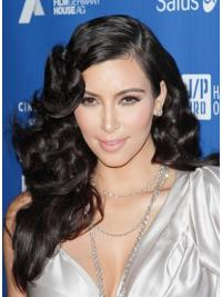 "Lace Front Krøllete Svart Stilig 22"" Kim Kardashian Parykk"