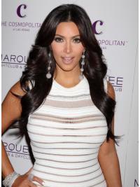 """Maskinknyttet Bølgete Svart Trendy 26"""" Kim Kardashian Parykk"""