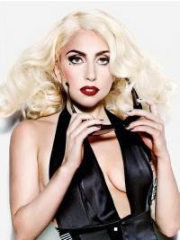 "Krøllete 16"" Billig Syntetisk Blond Halv Lengde Lady Gaga Parykk"