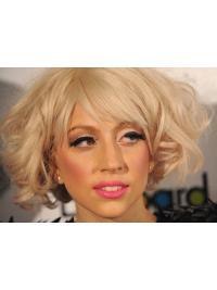 "Krøllete 11"" Designet Remy Hår Blond Halv Lengde Lady Gaga Parykk"