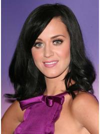 """Svart 16"""" Fabelaktig Syntetisk Halv Lengde Maskinknyttet Katy Perry Parykk"""