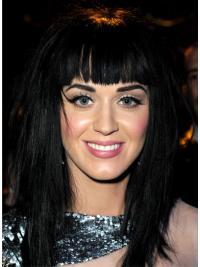 "Svart 17"" Slank Syntetisk Lang Lace Front Katy Perry Parykk"