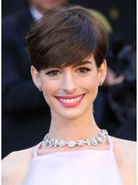"Maskinknyttet Brun Syntetisk Kort 6"" Flink Anne Hathaway Parykk"