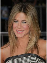 "Rett 17"" Blond Halv Lengde Maskinknyttet Problemfri Jennifer Aniston Parykk"
