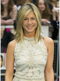 "Rett 14"" Blond Halv Lengde Maskinknyttet Perfekt Jennifer Aniston Parykk"