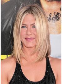 """Rett 13"""" Blond Halv Lengde Lace Front Ideell Jennifer Aniston Parykk"""