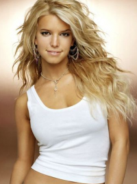 "Bølgete 18"" Blond Lang 100% Håndknyttet Beleilig Jessica Simpson Parykk"