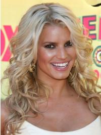 "Bølgete 16"" Blond Lang Lace Front Flink Jessica Simpson Parykk"