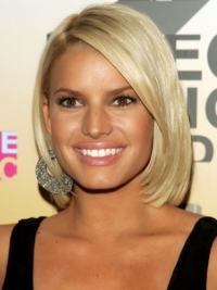 "Rett 12"" Blond Kort 100% Håndknyttet Billigste Jessica Simpson Parykk"