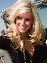 "Bølgete 16"" Blond Lang Lace Front Rabatt Jessica Simpson Parykk"