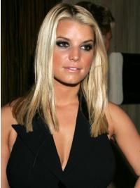 "Rett 16"" Blond Lang Lace Front Passende Jessica Simpson Parykk"