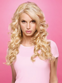 "Bølgete 18"" Blond Lang Lace Front Populær Jessica Simpson Parykk"