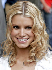"Bølgete 12"" Blond Halv Lengde Lace Front Frekk Jessica Simpson Parykk"