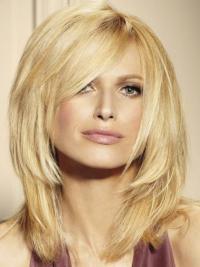 Blond Lace Front Utrolig Halv Lengde Rett Parykk Ekte Hår