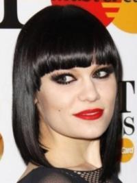 """Svart 12"""" Fabelaktig Syntetisk Halv Lengde Maskinknyttet Jessie J Parykk"""